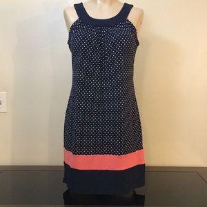NWOT Navy Polka Dot Summer Career Midi Dress Boho